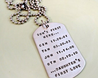 Personalized Dog Tags - Son's First Hero, Daughter's First Love Hand Stamped Mens Necklace - Custom Mens Jewelry - Daddy Necklace