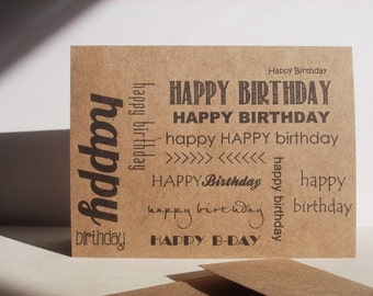 Birthday Card - Kraft Paper Typography Birthday Card, Kraft Black Brown Rustic Neutral Greeting Card, Typographic Birthday Invitations