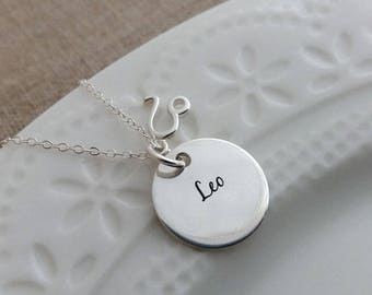 Leo Necklace. Leo Constellation Disc. Zodiac Necklace. Leo 100% Sterling. Astrological Disc. August Birthday Gift For Leo