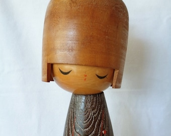 k56:Creative kokeshi doll,Tall Sosaku Kokeshi doll,Large Vintage Japanese wooden heavy ART Doll Kokeshi,artist sign,Handcrafted in Japan