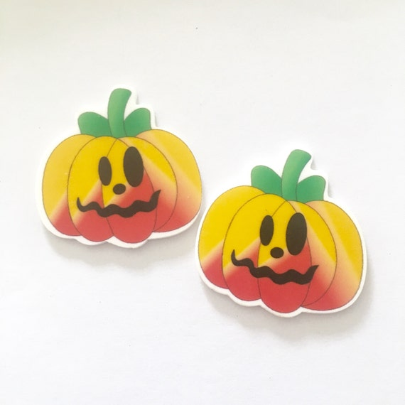 Laser Cut Supplies- 2 Pieces. 45mm Halloween Pumpkin Face Charms - Laser Cut Acrylic - Jewelry Supplies-Little Laser Lab.Online Laser Cuttin