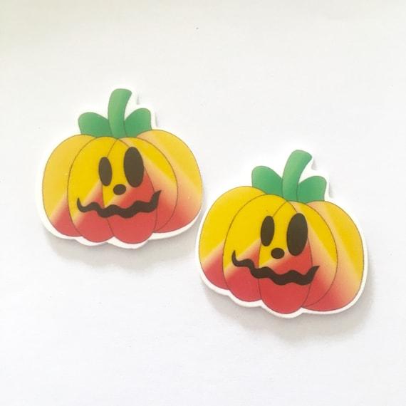 Laser Cut Supplies- 2 Pieces. 45mm Halloween Pumpkin Face Charms - Laser Cut Acrylic - Jewelry Supplies-Little Laser Lab.Online Laser Cuttin