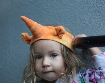 Organic orange Unicorn Headband, eco friendly dyes, halloween