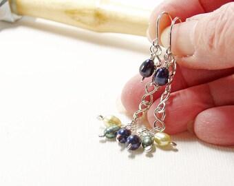Green Pearl and Sterling Silver Chain Drop Earrings, Freshwater Pearl Earrings, Long Dangle Earrings