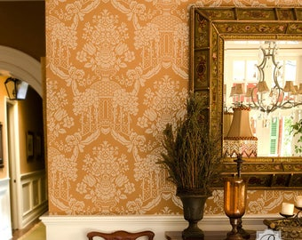 Classic Floral Damask Wallpaper Wall Stencil for Painting a European or Victorian Wall Mural Decor