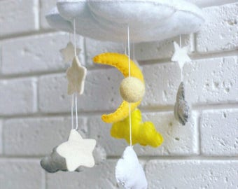 Baby felt mobile clouds and stars