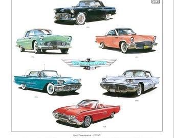 FORD THUNDERBIRD Fine Art Print - 1st, 2nd & 3rd generation personal luxury car