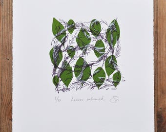 Leaves Entwined , Limited Edition Print, Printmaking, Wall Art, Screenprint