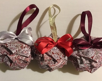 Spring Paisley Fabric Ornaments -  Set of 3