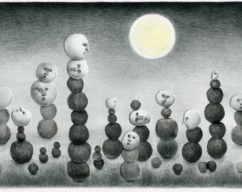 Original mixed media drawing - Moonlight