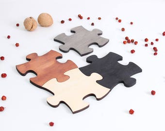 Puzzle wooden coaster set, Wood Coaster Set, Wooden Coasters, Drink Coasters, puzzle Coasters