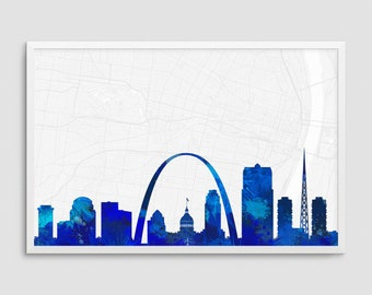Saint Louis Missouri Cityscape and Street Map Blue Watercolor Art Print Office or Home Wall Decor