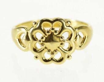 14k Scroll Design Shamrock Clover Statement Ring Gold