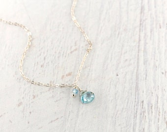 Blue Zircon Necklace, Sterling Silver Necklace, Dainty necklace, Delicate Necklace, Minimalist Necklace