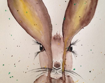 Custom Watercolor Rabbit Painting
