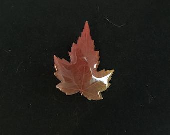 Resin Brooch Redish Brown Maple Leaf