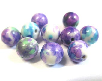 natural ocean jade white, blue and purple 8mm 10 beads
