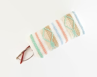 Braid Trim Upcycled Eyeglass Case Sunglasses Holder