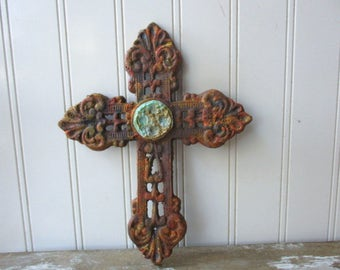 Rustic cast iron cross filigree faux rust verdigris wall hanging 8 inch metal cross brown antique style Christian Divine Religious decor LR6
