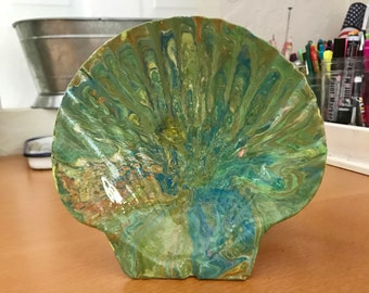 SEASHELL large dirty pour acrylic flip cup earring, ring, soap holder original art