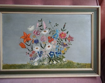 Vintage Oil Painting of Flowers Floral Still Life
