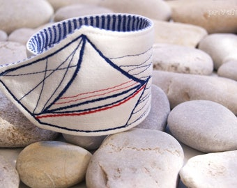 Nautical Bracelet Cuff Textile Art Fashion - Textile Jewelry - Yacht - modern chic design. Unique gift for Her!