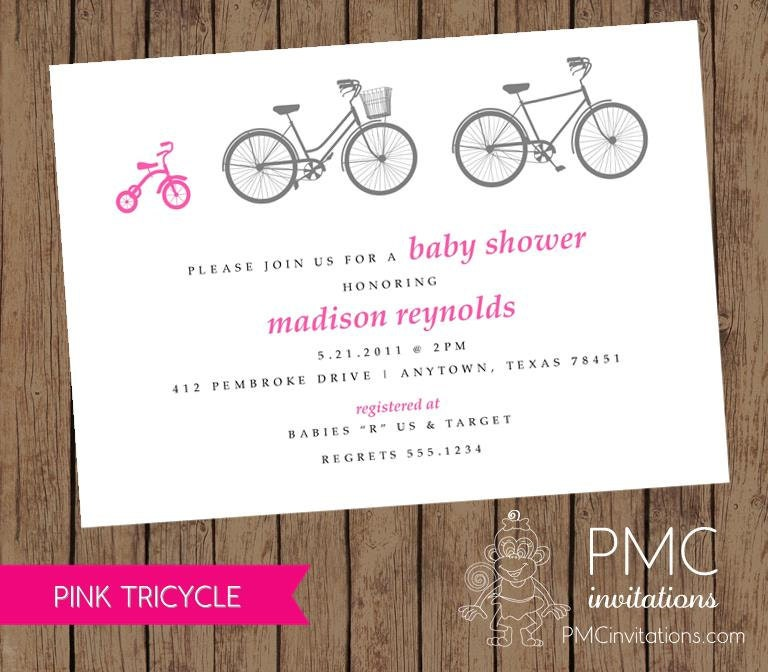 Bicycle Tricycle Girl Baby Shower Birth Announcement