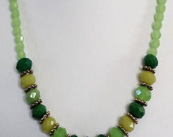 Beaded Green Faceted Single Strand Necklace