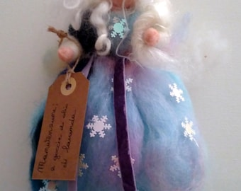 Snowflake Fairy, in carded wool, inspired by Waldorf pedagogy