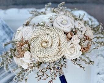 Rustic Burlap Bridesmaids Bouquet // Burlap Bouquet, Dried Flower Bouquet, Vintage Book Flowers, Sola Flowers, Sola Bouquet, Wedding Bouquet