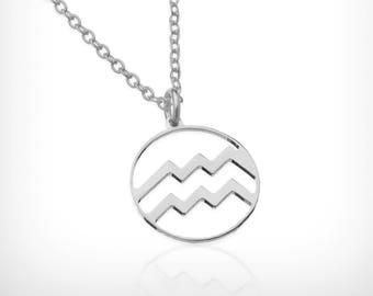 Aquarius zodiac necklace solid silver Dainty Zodiac Necklace pendant, constellation necklace , zodiac jewelry, Aquarius necklace