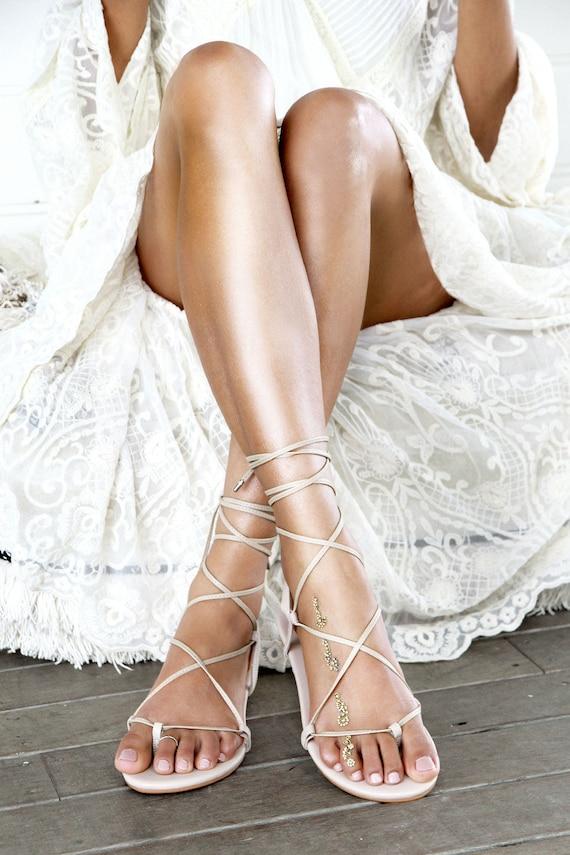 Ladies nude flat sandal gladiator sandal nude leather like this item junglespirit Gallery