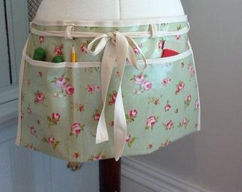 Oilcloth or Cotton Gardener's apron, gardening apron, garden, teachers apron, wipe clean apron, craft apron, artist apron, half waist apron