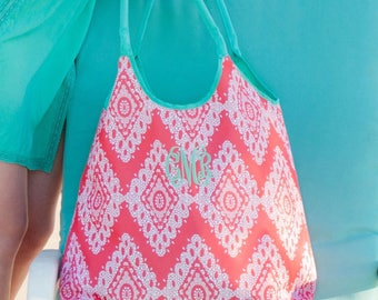 Monogrammed Beach Tote, Personalized Beach Bag,