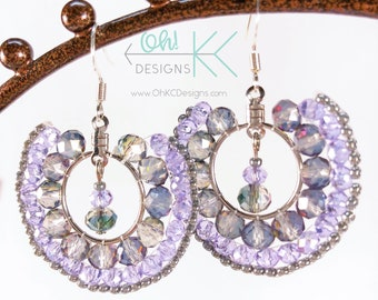 Purple and gray brick-stitch beaded hoop earrings