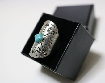 Vintage Bohemian Beach Turquoise Ring