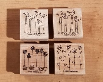 Stampin' Up Retired Set - 2003 Simple Somethings - Rubber Stamp Set of 4 - RS-111
