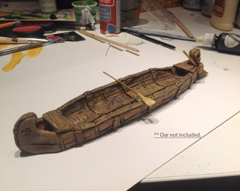 Expeditionary Canoe, 28mm White Resin, UNPAINTED. Fantasy RPG