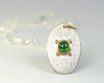 pendant green garnet gold 900 silver 925 unique piece hand made in germany