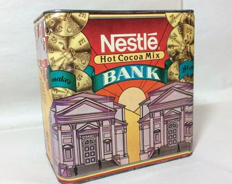 Nestle Hot Cocoa Mix 1980s Collectible Tin Bank - Very Nice!