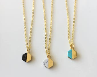 Turquoise Hexagon Necklace, Gold Necklace, Turquoise Necklace, Gold Hexagon Necklace, Dainty Necklace