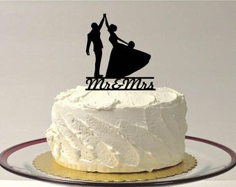 MADE In USA, High Five Wedding Cake Topper, Mr & Mrs Silhouette Wedding Cake Topper, Bride Groom Wedding Silhouette Cake Topper, Married