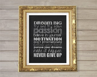 Dream Big Subway Art Printable 8x10- Faux Chalkboard Inspirational Motivational Quote Passion Instant Download Poster Wall Art Home Decor
