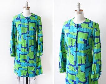 60s Vera Neumann dress, vintage 1960s Vera dress, blue + green mod dress, graphic long sleeve cotton dress, small medium sm
