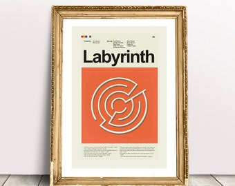 Labyrinth Mid-Century Modern Inspired Print
