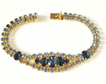 1960s Blue Diamonte Rhinestone Bracelet. Large Size. Wedding, Bride, Bridesmaid