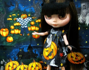 Blythe Halloween cat mask pumpkin dress Trick or treat!