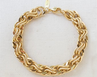 Vintage Oscar De La Renta Gold Tone Braided Textured Links Bracelet #OS150