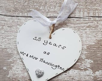 Personalised 15th Wedding Anniversary gift | handmade 15th anniversary gift | wedding anniversary gift | handmade wooden heart
