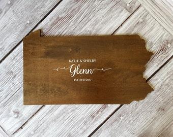 Wedding Guest Book Alternative. State Guest Book. Wood Guest Book. Custom State Sign. State Sign. Wood State Cutout, Pennsylvania